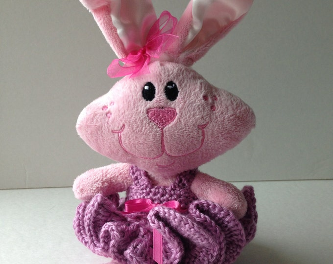 Pink Bunny Dressed in Crochet Clothes - Funny Bunny - Plush Rabbit with Crochet Dress - Pink and Purple - Handmade Crochet - Ready to Ship
