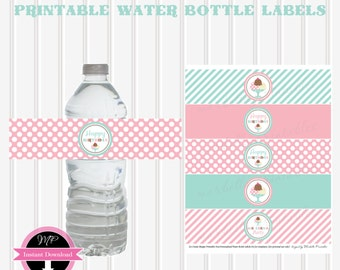 Instant Download ICE CREAM/SHOPPE/Party Printable Water Bottle Labels (non-personalized)  by Marbella Printables