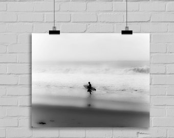 "Black and White Surf Photography, Beach Photography, Southern California, Los Ocean, Surfer, ""Tranquil Surf"""