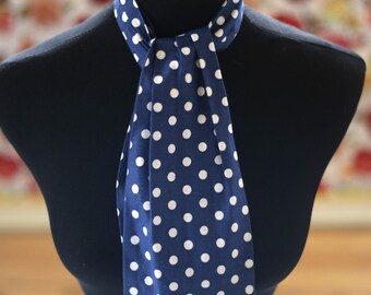 Navy Polkadot Tie White and Navy Head wrap bowtie and belt Costume Clown