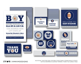 Football Shower Party Kit, Football Invitation, Sports Baby Shower, Football Decor, Couples Football Baby Shower, Blue and Silver, #S2