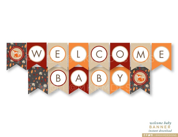 welcome baby banner fox baby shower fox banner rustic baby shower