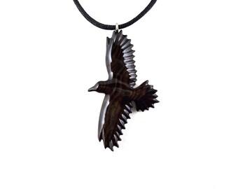 Raven Pendant, Raven Necklace, Crow Pendant, Crow Necklace, Wooden Raven Pendant, Raven Totem, Spirit Animal Raven Jewelry, Crow Jewelry