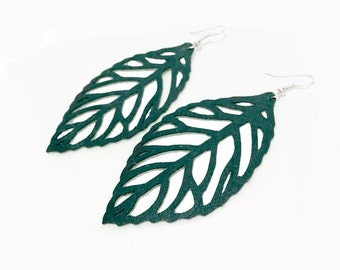 Leaf Cutout Earrings Teal