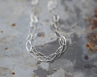 Hammered Silver Chain Necklace, Sterling Silver Minimalist Jewelry, Simple Necklace For Everyday