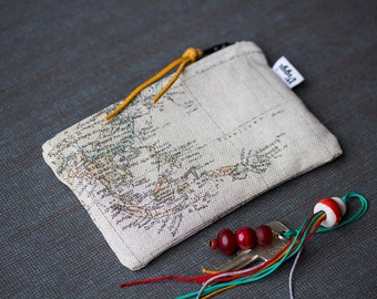 Card wallet world map, coin purse, change pouch map