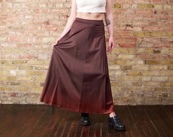 valley sky 70s ombre maxi skirt / silky floor length / boheo maxi skirt / long brown skirt / high rise skirt / sienna / long 70s skirt
