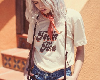 Feelin' Fine Tee- 70s- Vintage tshirt- Womens t-shirt- graphic tee- made in usa- thin t-shirt- 70s tee- Women's monogram tee-