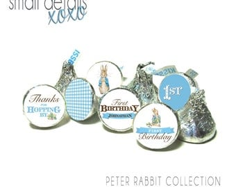 PETER RABBIT kiss stickers - Beatrix Potter kiss stickers ~ for Hershey's Kisses® Chocolate -  First Birthday