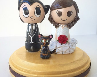 Astroboy Themed Wedding Cake Topper w/ customizable Bride and Groom! Made to Order!