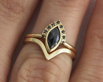 Wedding Ring Set, Diamond Engagement Ring Set, Set For Alternative Bride, 18k Yellow Gold Set