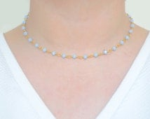 Dainty Periwinkle Gemstone Chain Choker - Rosary Choker