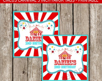 Vintage Carnival Favor Tags - Red & Blue - Carnival Circus Birthday Party - DIY Printable
