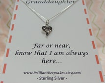 Gift for Granddaughter Heart Charm Necklace