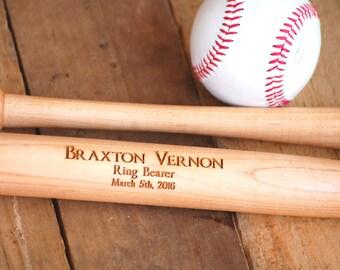 6 Personalized Wedding Party Favors, Groomsmen Gift, Ring Bearer, Junior Groomsmen Mini Bat, Baseball Bat Usher Gift, Baseball Wedding Favor
