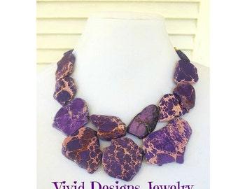 Purple Turquoise Statement Necklace - Purple Bib Jewelry - Stone Statement Necklace