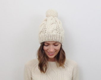 Cable Knit Pom-Pom Hat Chunky Wool Knit Hat   THE BELFAST