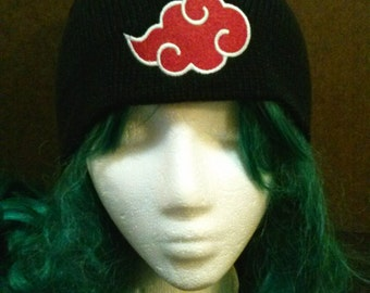 Naruto inspired Akatsuki embroidered beanie skull cap