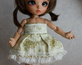 Green lace dress set for Pukifee or similar sized dolls