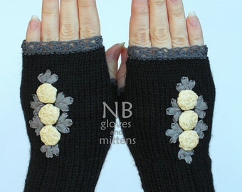 SMALL size, Hand Knitted Fingerless Gloves, Gift Ideas,Winter Accessories, Gloves & Mittens, Ribbon Embroidery,Rose,Black, READY to SHIP