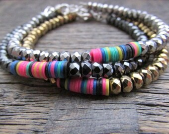 African Boho Bracelet, African Bracelet, Boho Tribal Bracelet, Chakra Bracelet, Bead Bracelet, Gypsy Bracelet, Hematite Stack Bracelet