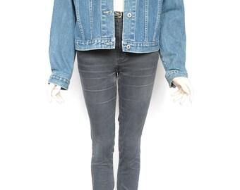 80s Vintage Dark Blue Jean Denim Jacket for Women