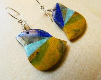 Yellow Stone Dangles, Yellow Opal, Lapis Earrings, Blue Stone Earrings