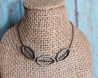 Industrial Necklace - Octagon Necklace - Geometric Shape Jewelry - Silver Necklace - Metal Necklace - Beaded Necklace - Geometry Jewelry