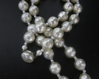 Vintage Costume Jewelry Faux Rough Cut Pearls