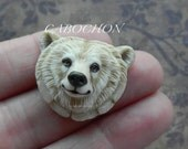 "Cabochon Bear ""White Spirit Bear"" Porcelain by Laura Mears"