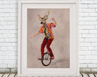 Deer Print,  Antler, Stag, Deer Art, Deer Art Print, Deer Artwork, Circus Print,Deer on bicycle,  Deer Wall Hanging, Circus Deer