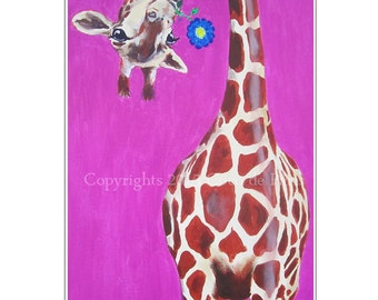 Animal painting portrait painting  Giclee Print Acrylic Painting Illustration Print wall art wall decor Wall Hanging: giraffe with flower