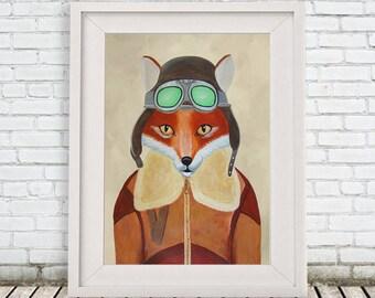 Fox Pilot Poster ArtPrint Illustration Acrylic Painting fox print Animal Painting Wall Decor Wall hanging Wall Art gift for men man him