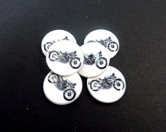 """6 Motorcycle Sewing Buttons.  3/4"""" or 20 mm Handmade By Me Buttons. Vintage Image Motorcycle. Washer and Dryer Safe."""