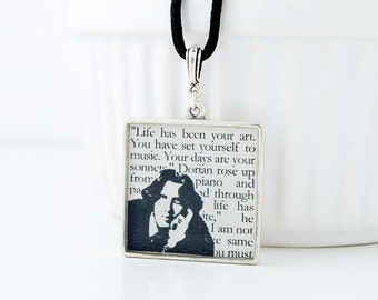 Oscar Wilde Book Necklace - Oscar Wilde Quote Necklace - Artist Quotes, Gifts for Artists, Reader Gifts, Literature Jewelry