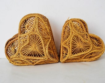 two boxes hearts hand woven straw