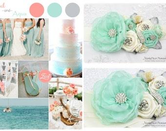 Mint Wedding Sash Bridal Jeweled Flower Sash Bridesmaids Custom Belt in Ivory Mint Aqua with Brooches, Handmade Flowers Beach Wedding