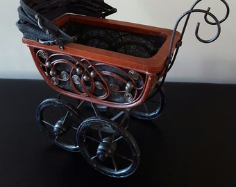 Vintage Doll Buggy/ victorian doll carriage/ folk art carriage/ doll pram/ wooden doll stroller/ photo prop/ baby doll display/ bent wood