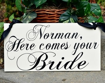Wedding signs, HERE comes the BRIDE, wood wedding sign, IVORY wedding, flower girl, ring bearer, photo props, single or double sided, 8x16