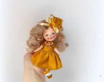 Cloth Doll ,Mustard,art doll,handmade Doll,collectible art doll