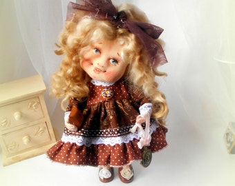 Cloth Doll, Doll,Textil Doll, 24sm,art doll,handmade,collectible art doll