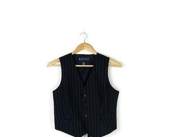 Ralph Lauren Dark Navy x White Pin Stripe  Vest from 90's*