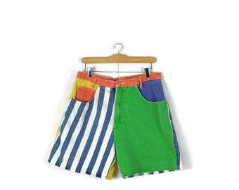 Vintage Colorful Patchwork/Color blocked/Stripe Denim Shorts from 1980's*