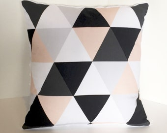 Blush peach gray black white triangles pillow cover - minky baby nursery pillow - pink monochromatic nursery geometric - baby shower gift
