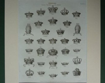 1819 Antique Heraldry Print, Royal Crowns, Old Medieval History Decor, Available Framed, British Monarchy, European Royalty Opulent Wall Art
