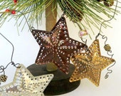 Star Light Star Bright - 3 Tin Punch Ornaments in copper, brass and aluminum - country decor, Christmas ornament, country cottage chic