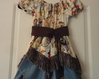 Cowgirl Dress, Girl's Cowgirl Costume, Size 4-5 Girl's Cowgirl Outfit, Western Outfit, Girl's Western Style Dress
