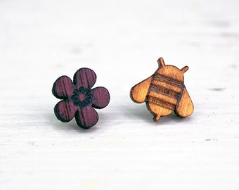 Bee and flower studs, bee and flower earrings, bee earring, bee stud, flower stud, asymmetric studs, asymmetric earrings, wooden earrings