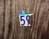 "Upcycled Minnesota License Plate ""State of Minnesota"" Ornament"