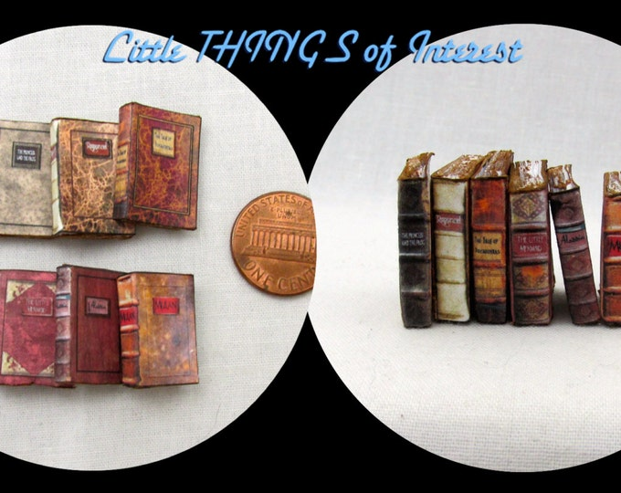 6 Miniature VINTAGE DISNEY Books Dollhouse 1:12 Scale 6 Books PROP Fill Bookshelf Faux Books